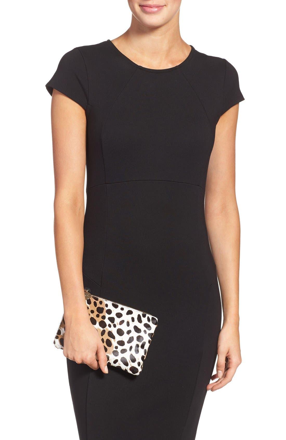 'Core' Leopard Print Genuine Calf Hair Pouch,                             Alternate thumbnail 2, color,                             Leopard