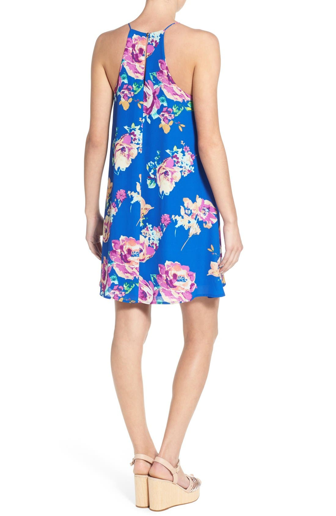 Alternate Image 2  - Everly Floral Print High Neck Trapeze Dress