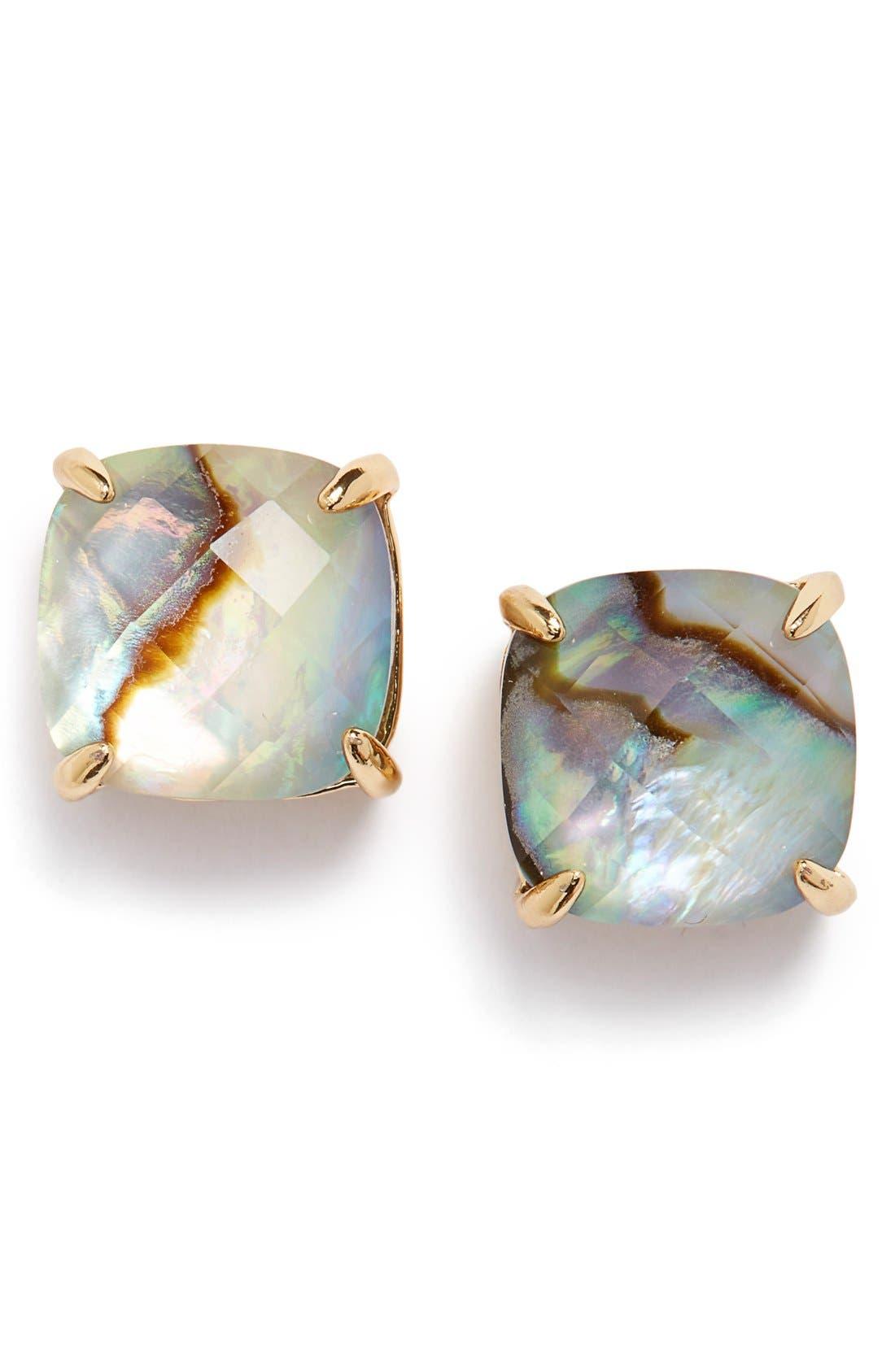 Alternate Image 1 Selected - kate spade new york mini small square semiprecious stone stud earrings