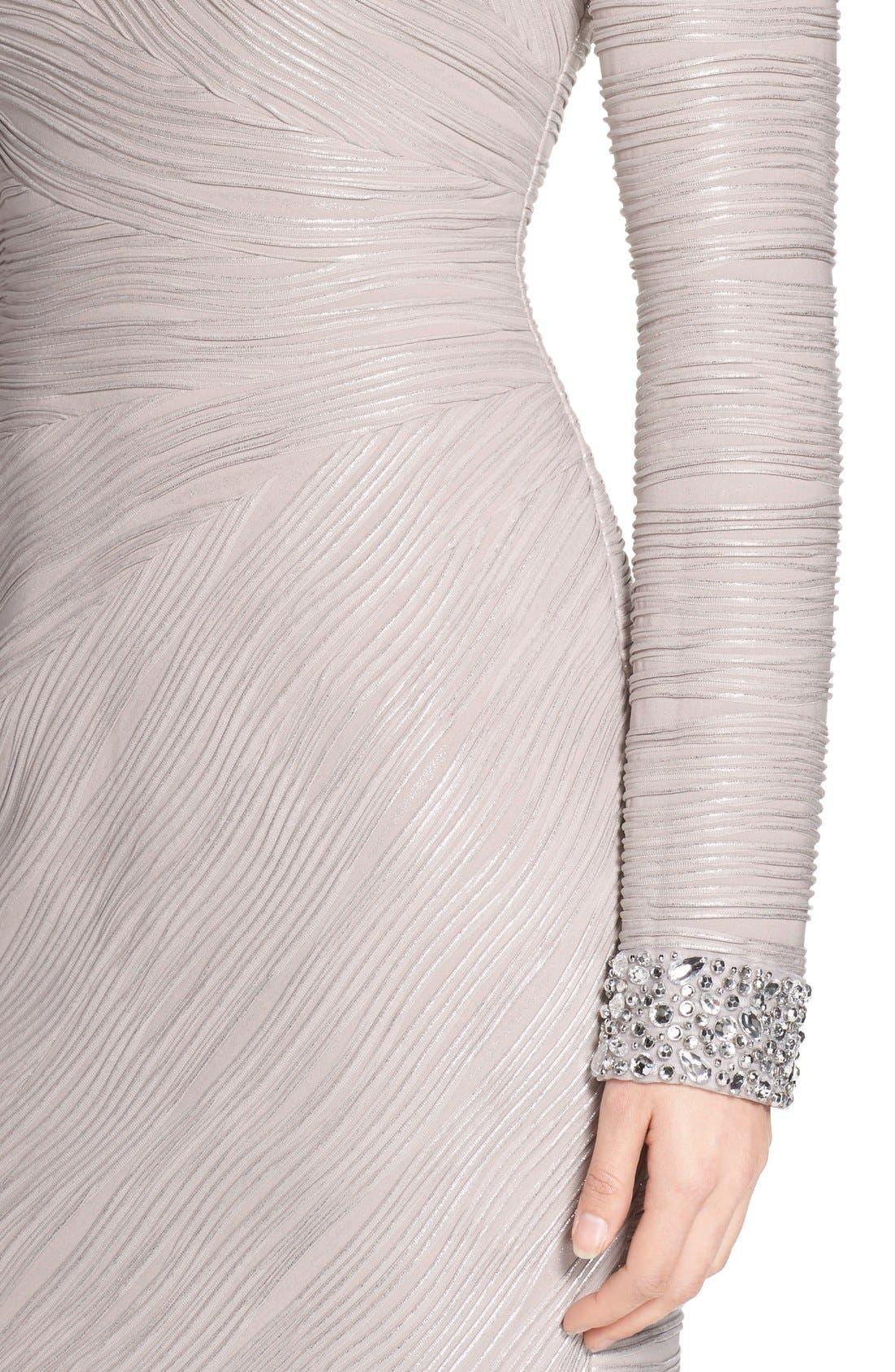 Embellished Sleeve Knit Sheath Dress,                             Alternate thumbnail 5, color,                             Taupe