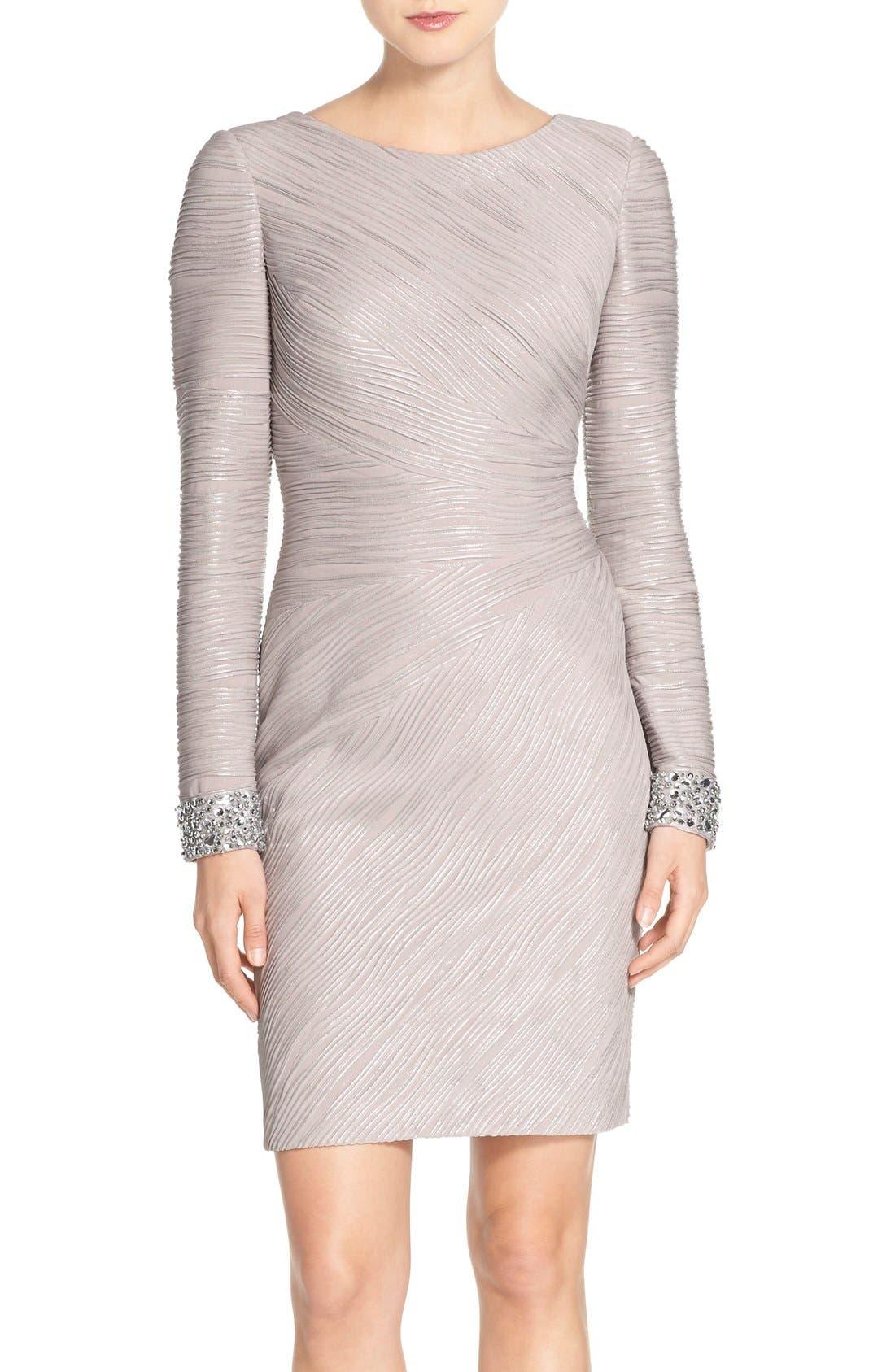 Embellished Sleeve Knit Sheath Dress,                             Main thumbnail 1, color,                             Taupe