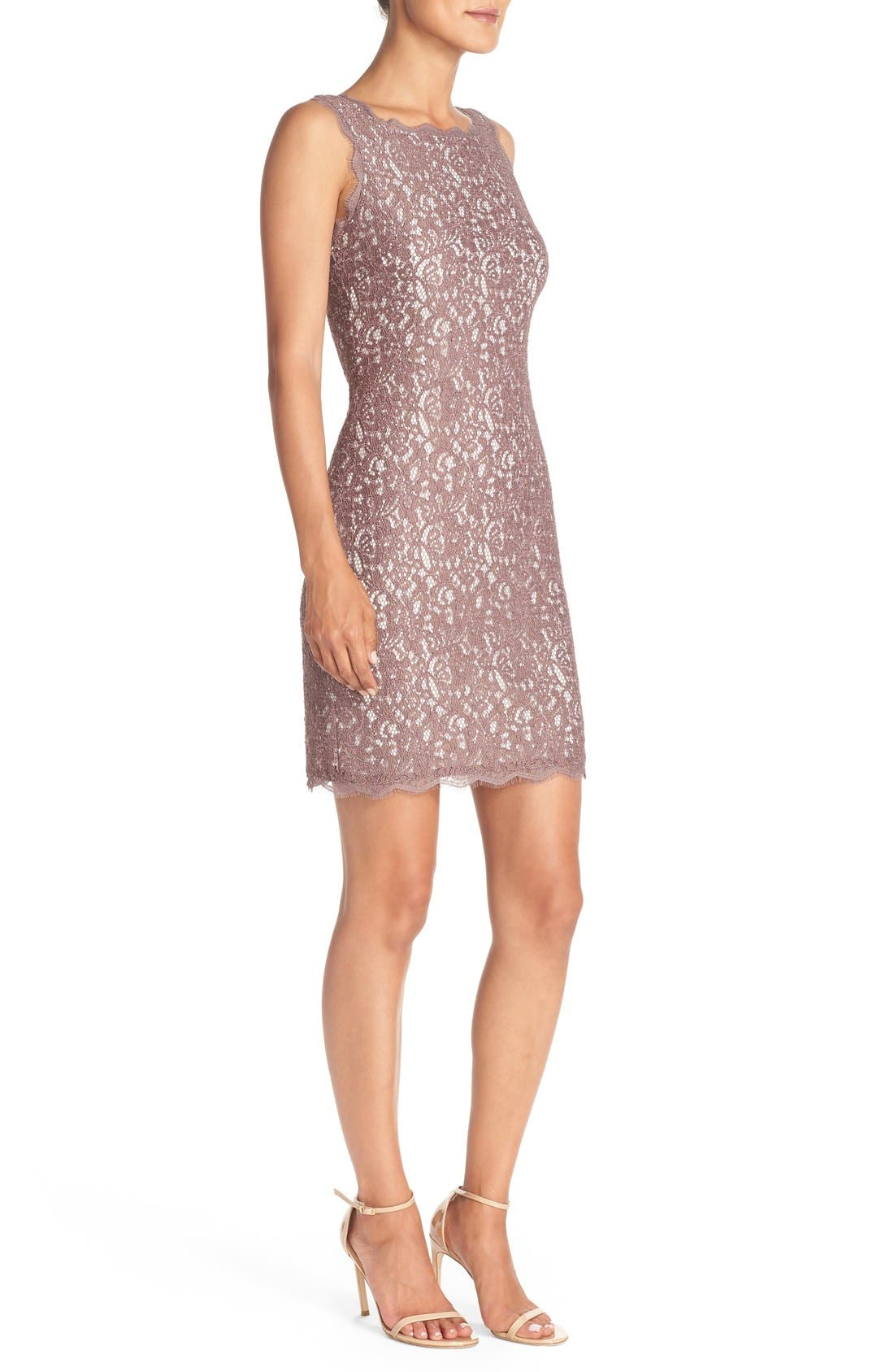 Boatneck Lace Sheath Dress,                             Alternate thumbnail 3, color,                             Cappuccino/ Ivory