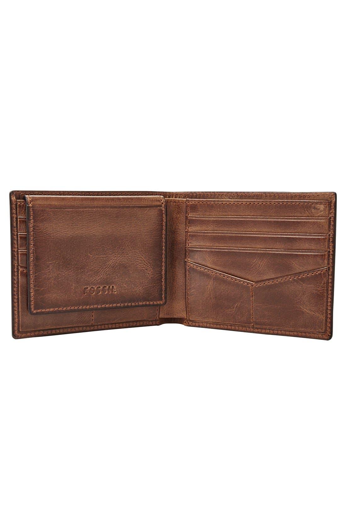 Alternate Image 3  - Fossil 'Derrick' Leather Flip Trifold Wallet