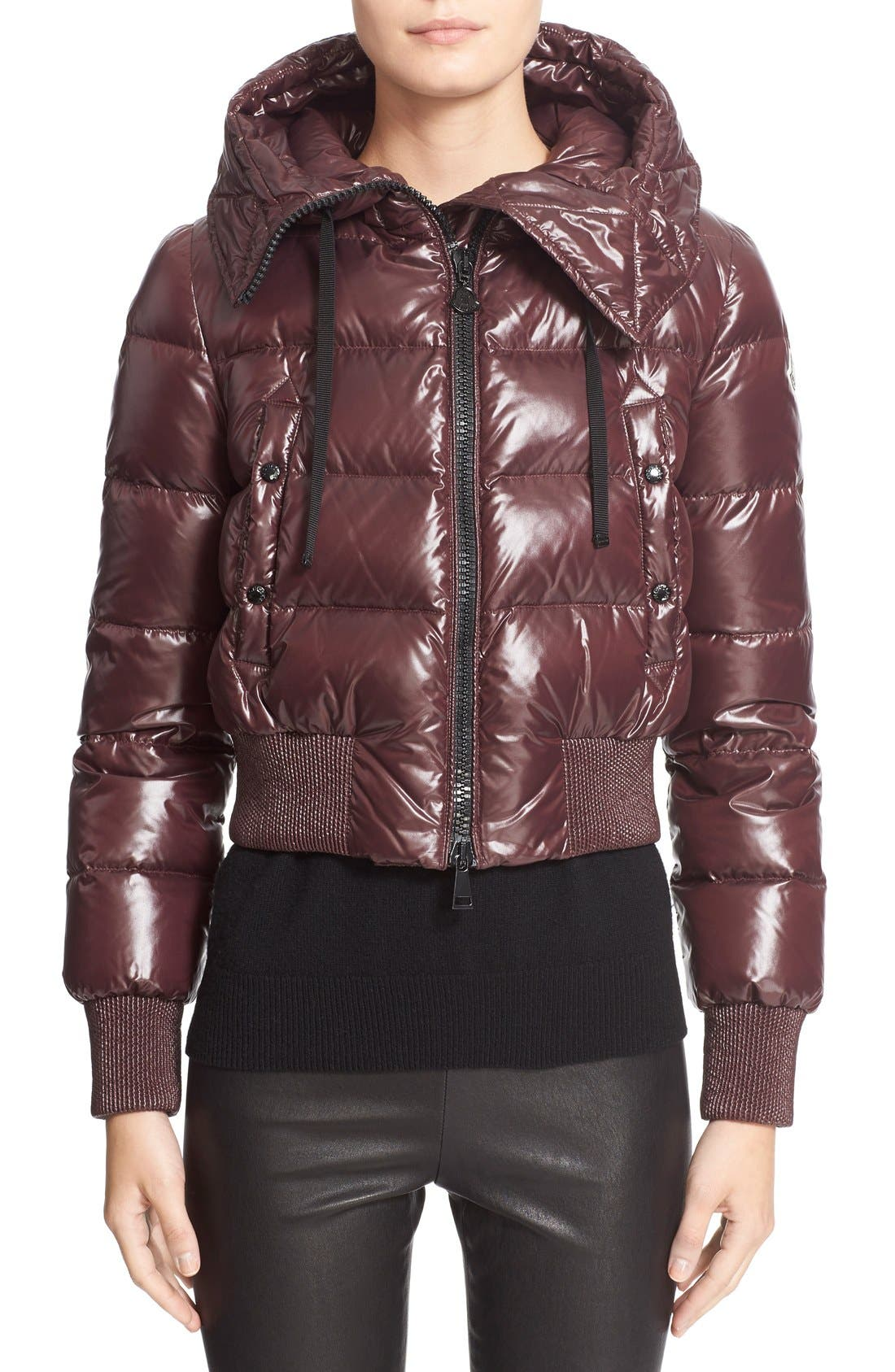 Alternate Image 1 Selected - Moncler 'Sotiria' Water Resistant Shiny Nylon Down Bomber Jacket