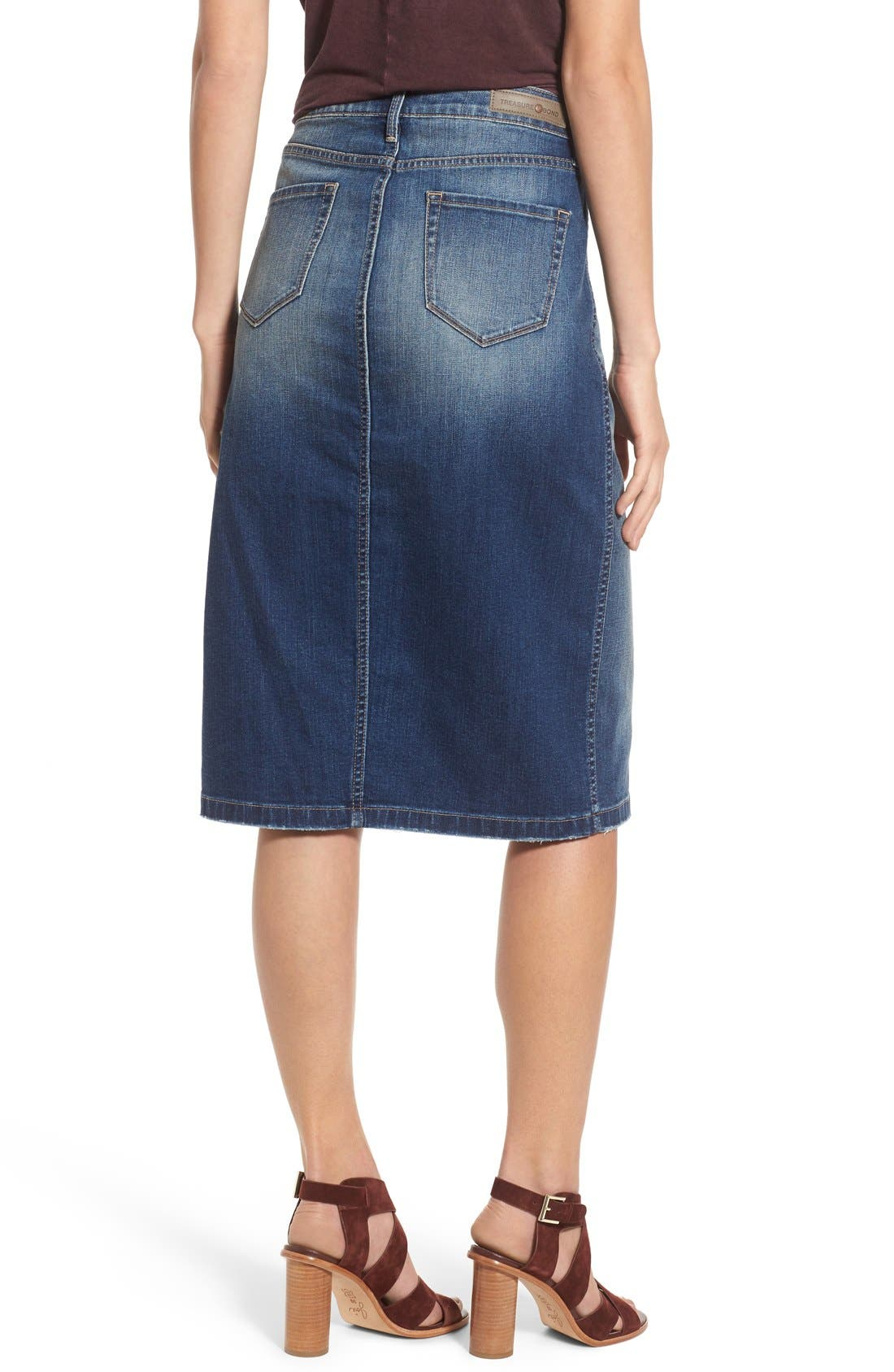 Alternate Image 2  - Hinge Denim Pencil Skirt (Rain Dusk Vintage)