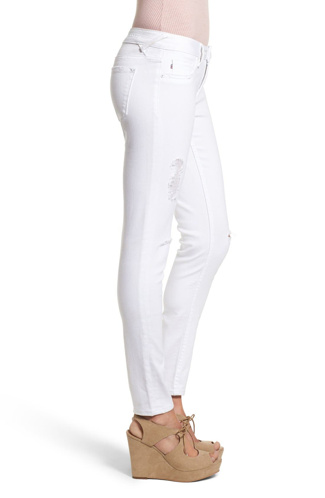 Distressed Skinny Jeans,                             Alternate thumbnail 3, color,                             White