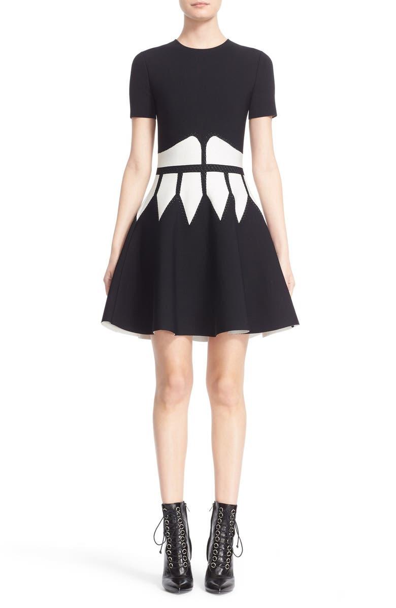 Intarsia Knit Fit  Flare Dress
