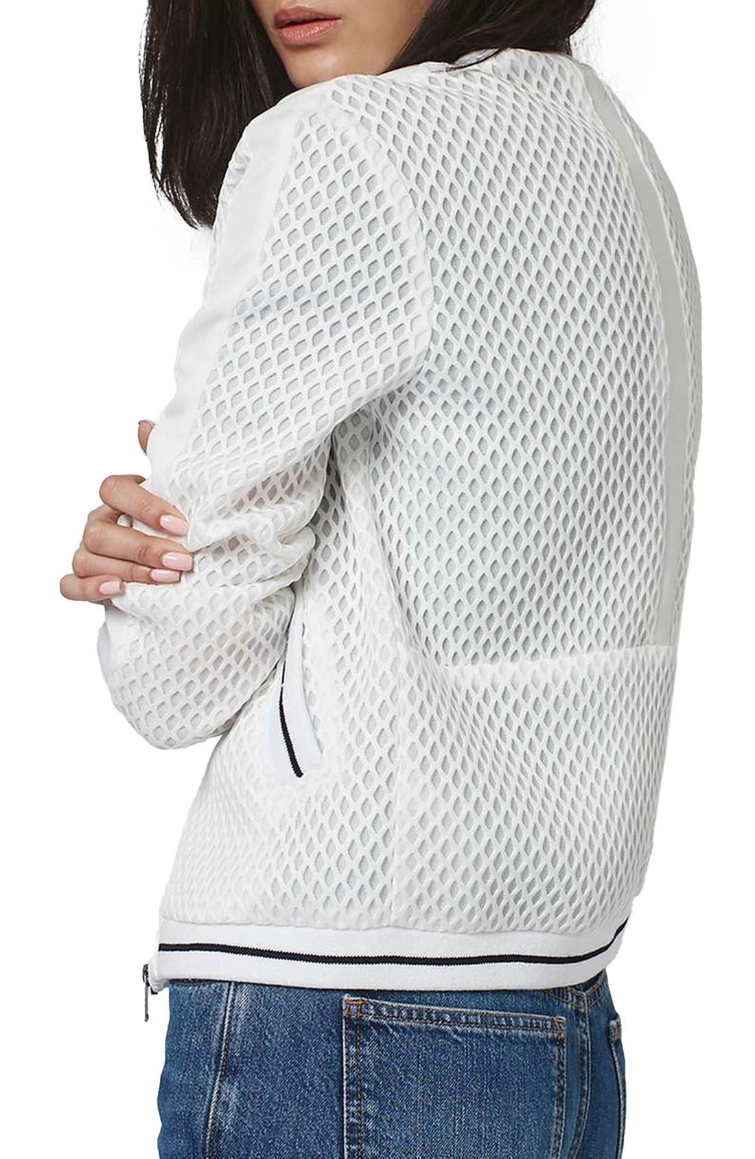 Diamond Airtex Bomber Jacket,                             Alternate thumbnail 2, color,                             Ivory