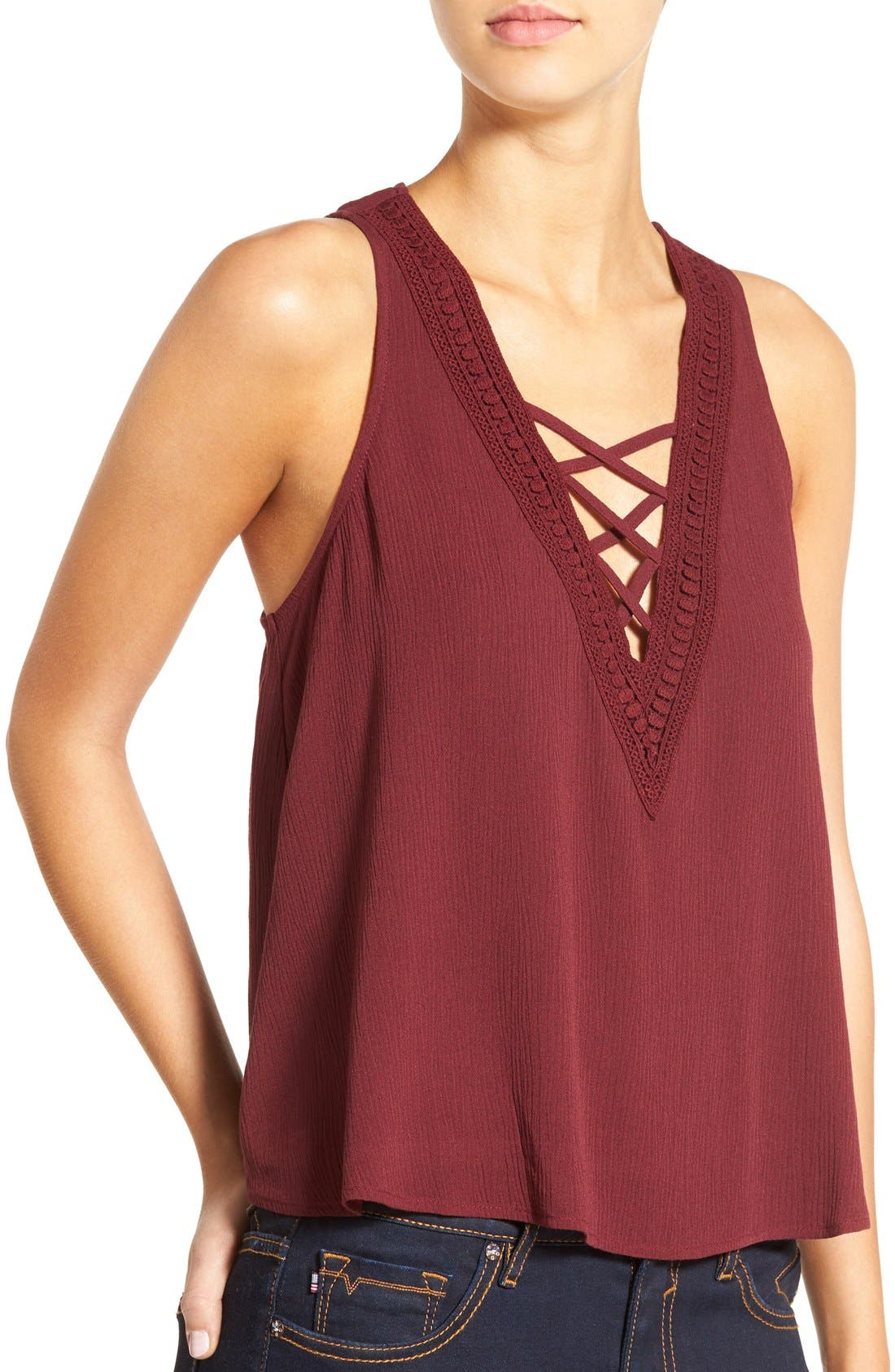 Cross Front Swing Tank,                             Alternate thumbnail 4, color,                             Burgundy