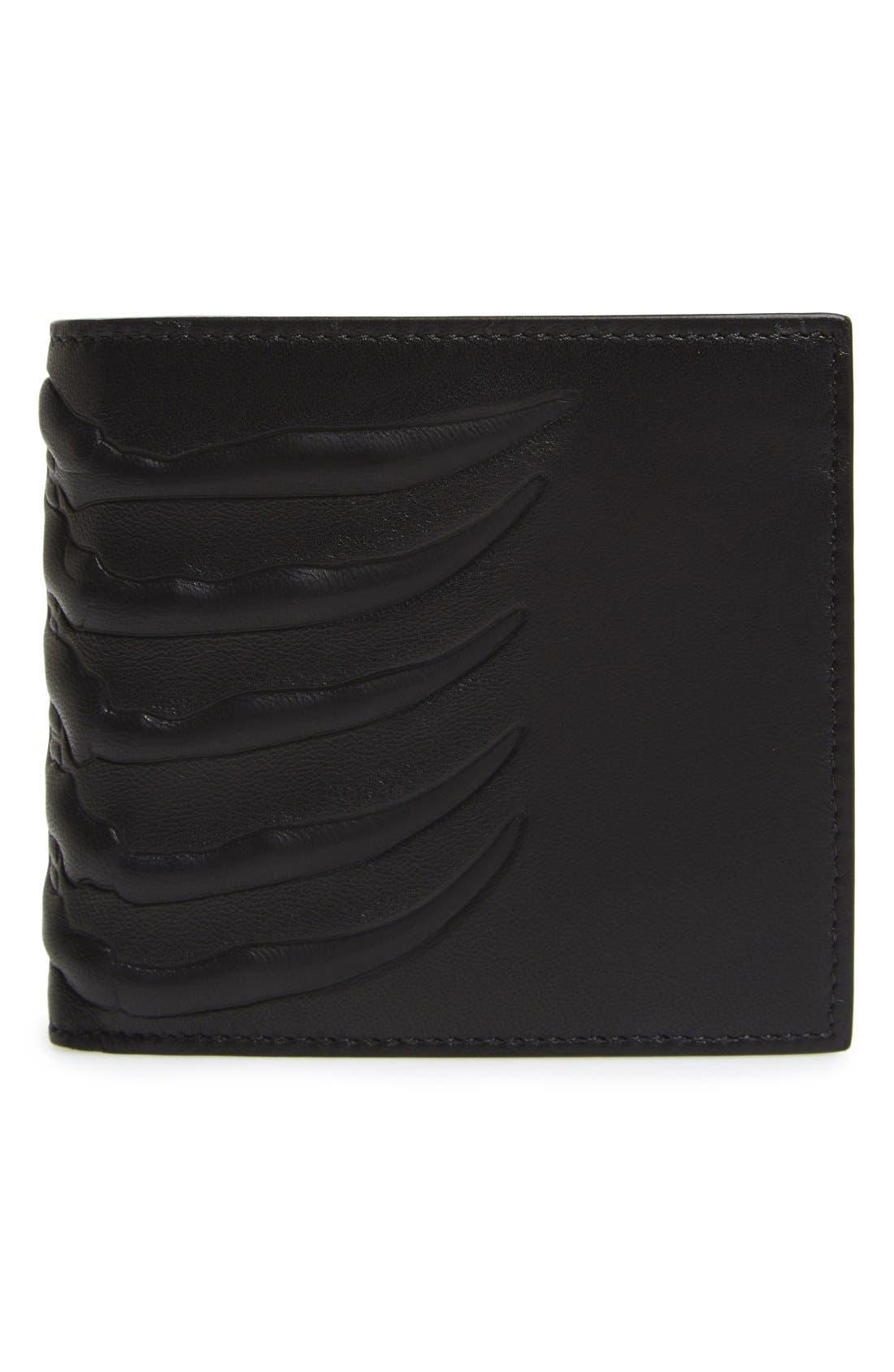 Ribcage Leather Wallet,                             Main thumbnail 1, color,                             Black