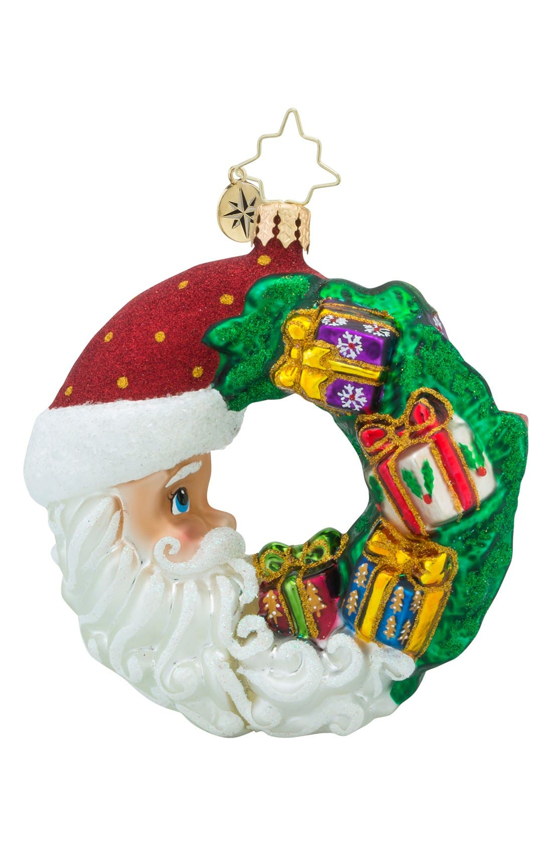 'Crescent Christmas' Santa Ornament,                             Main thumbnail 1, color,                             Green/ Multi