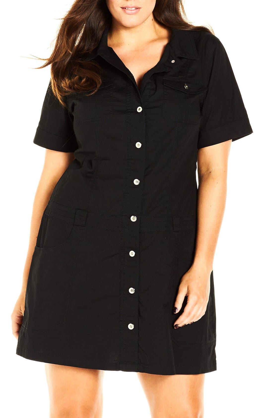 'Adventure' Short Sleeve Stretch Cotton Shirtdress,                         Main,                         color, Black