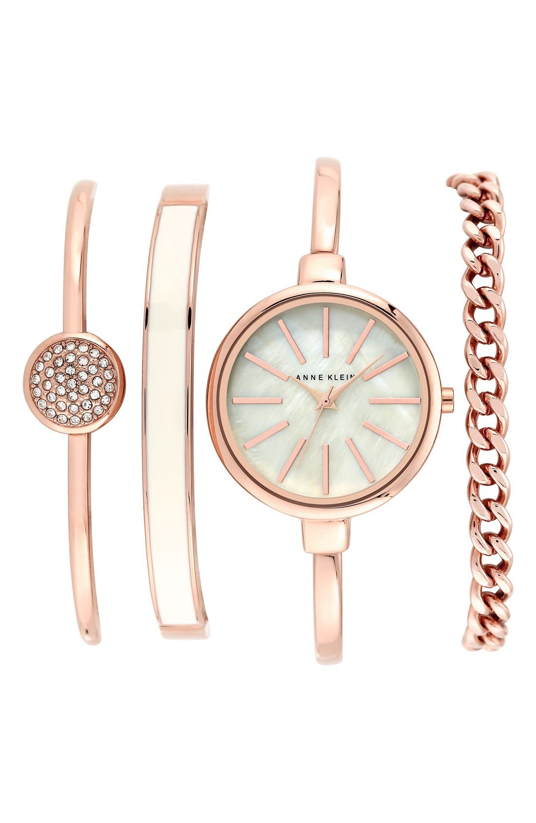ANNE KLEIN Round Watch & Bangle Set, 32Mm in Rose Gold/ Ivory