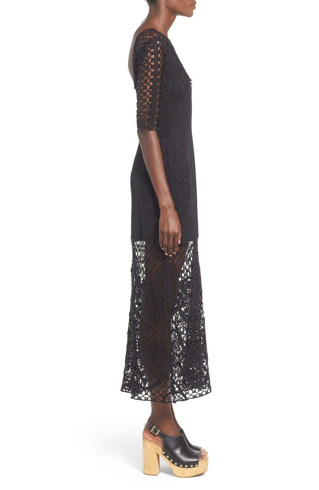 Alternate Image 3  - For Love & Lemons 'Gracey' Illusion Lace Midi Dress
