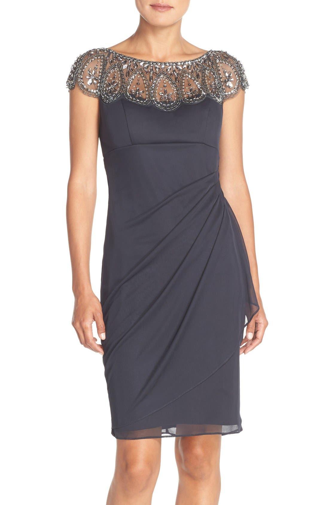 XSCAPE Embellished Chiffon Sheath Dress