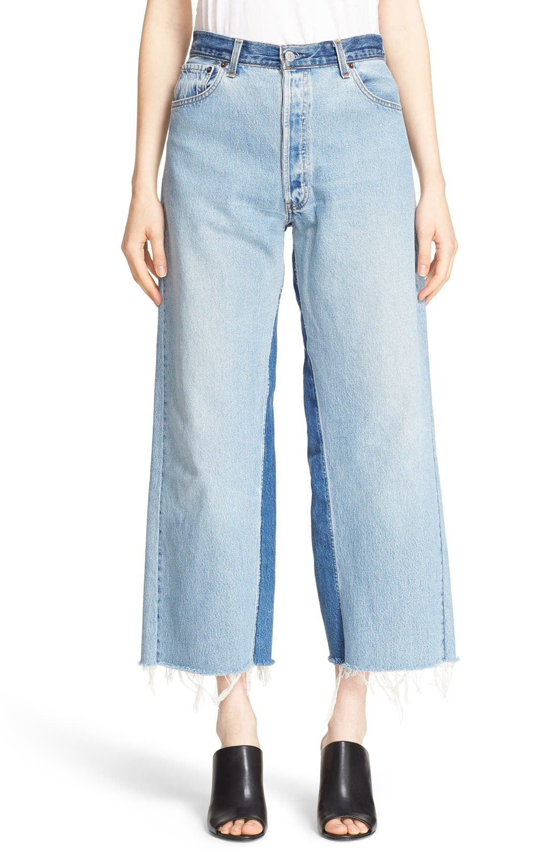 'The High Rise Wide Leg' Reconstructed Jeans,                             Main thumbnail 1, color,                             Denim Patch