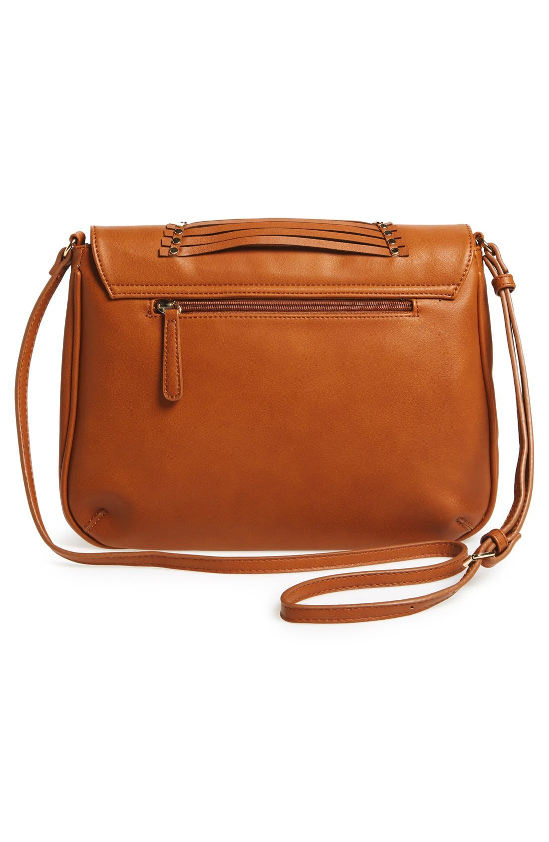 'Larissa' Studded Flap Faux Leather Crossbody Bag,                             Alternate thumbnail 3, color,                             Cognac