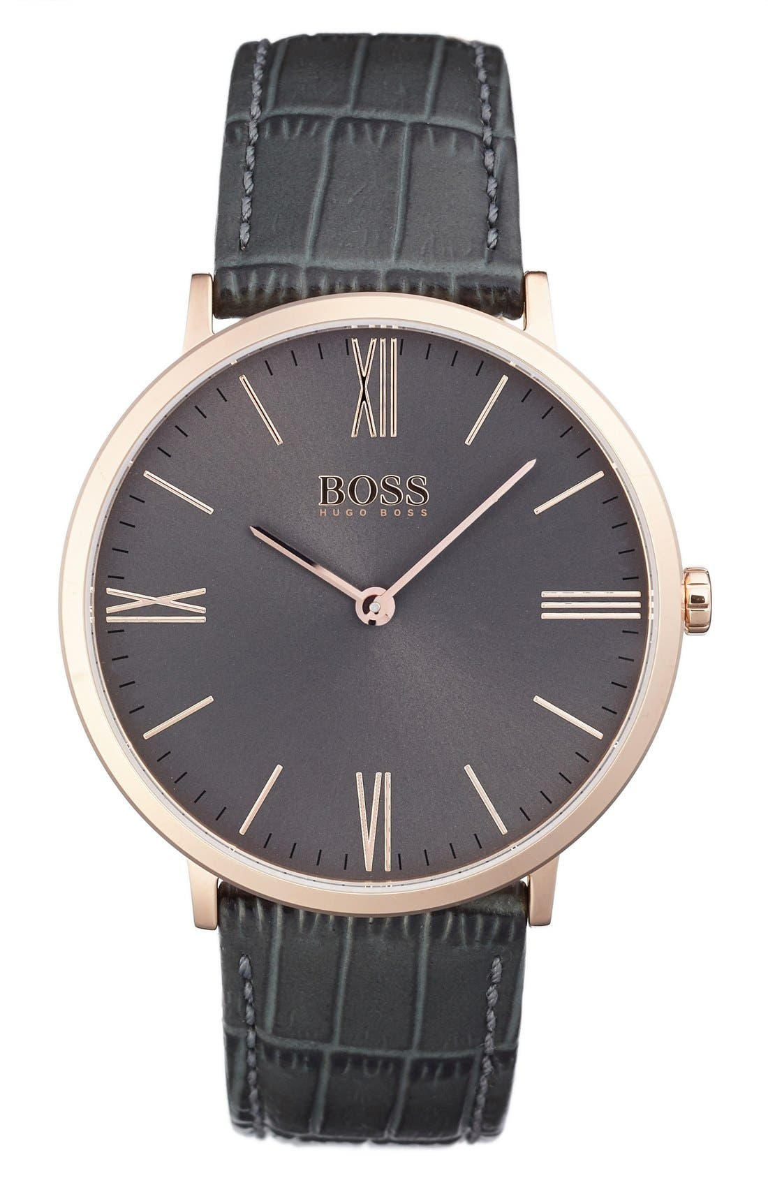 BOSS Ultra Slim Leather Strap Watch, 40mm,                         Main,                         color, Grey/ Grey