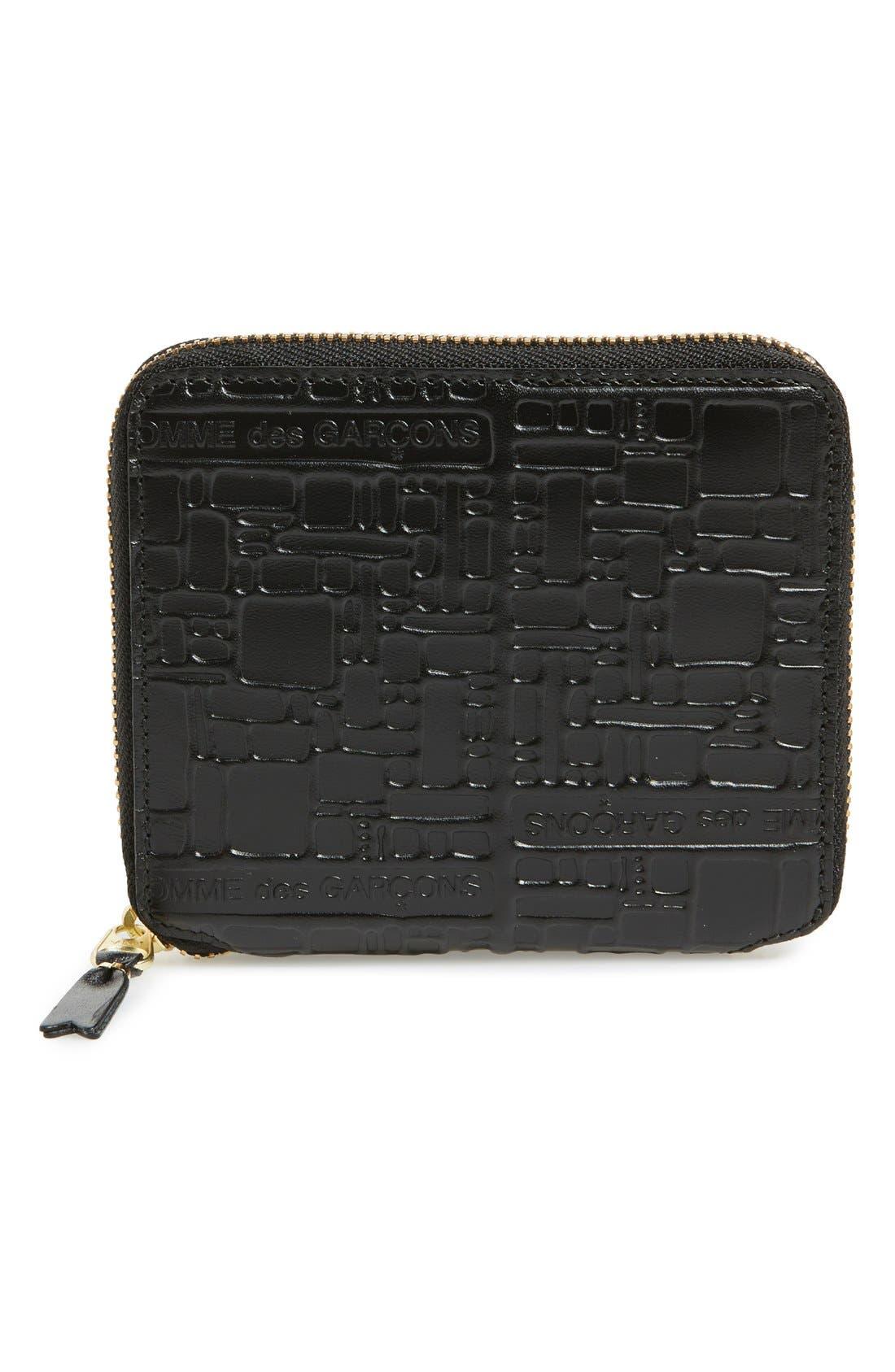 Comme de Garçons Embossed French Wallet,                             Main thumbnail 1, color,                             Black