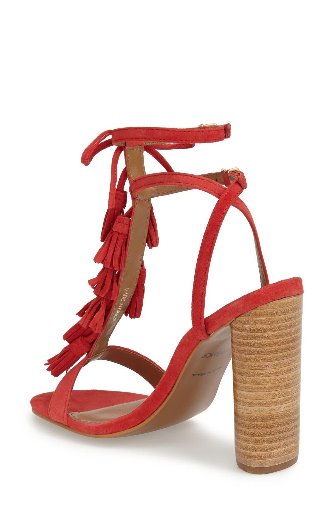 Alternate Image 2  - Topshop 'Ripple' Tasseled Round Heel Sandal (Women)