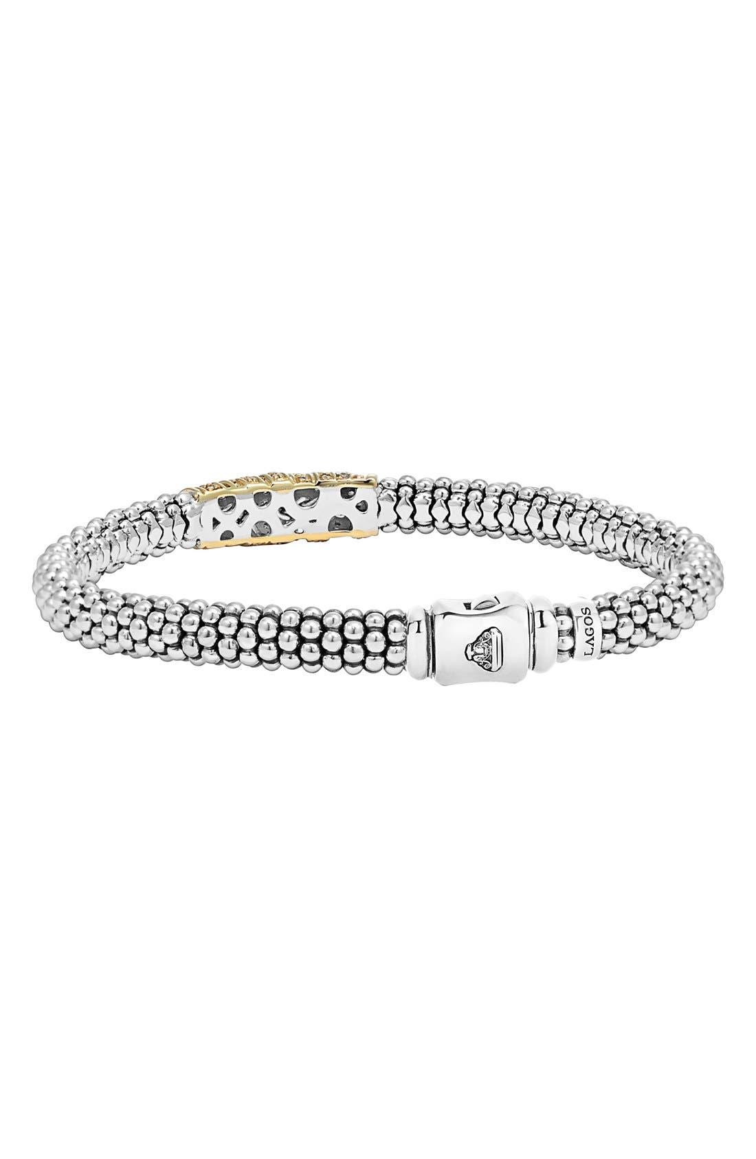 'Diamonds & Caviar' Diamond Bracelet,                             Alternate thumbnail 2, color,                             Sterling Silver/ Gold