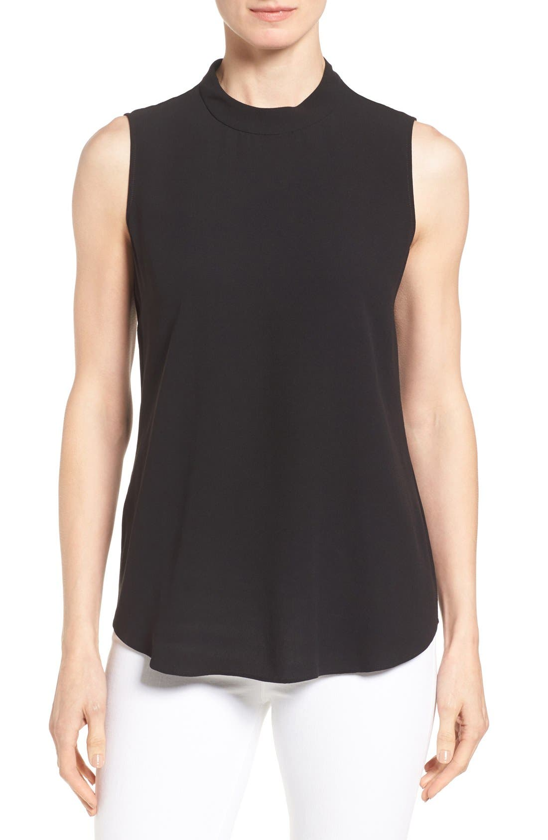 Silk Crepe High Neck Sleeveless Blouse,                         Main,                         color, Black