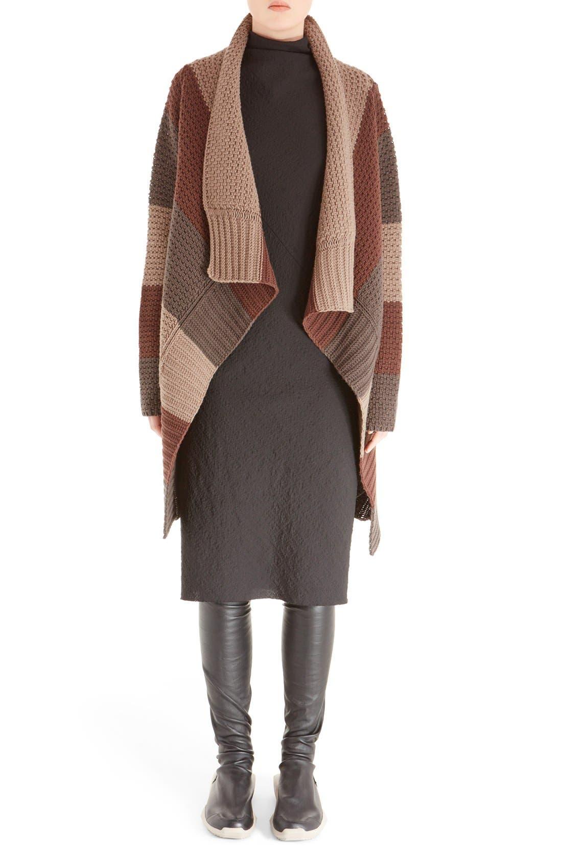 Main Image - Rick Owens Stripe Drape Front Wool Cardigan