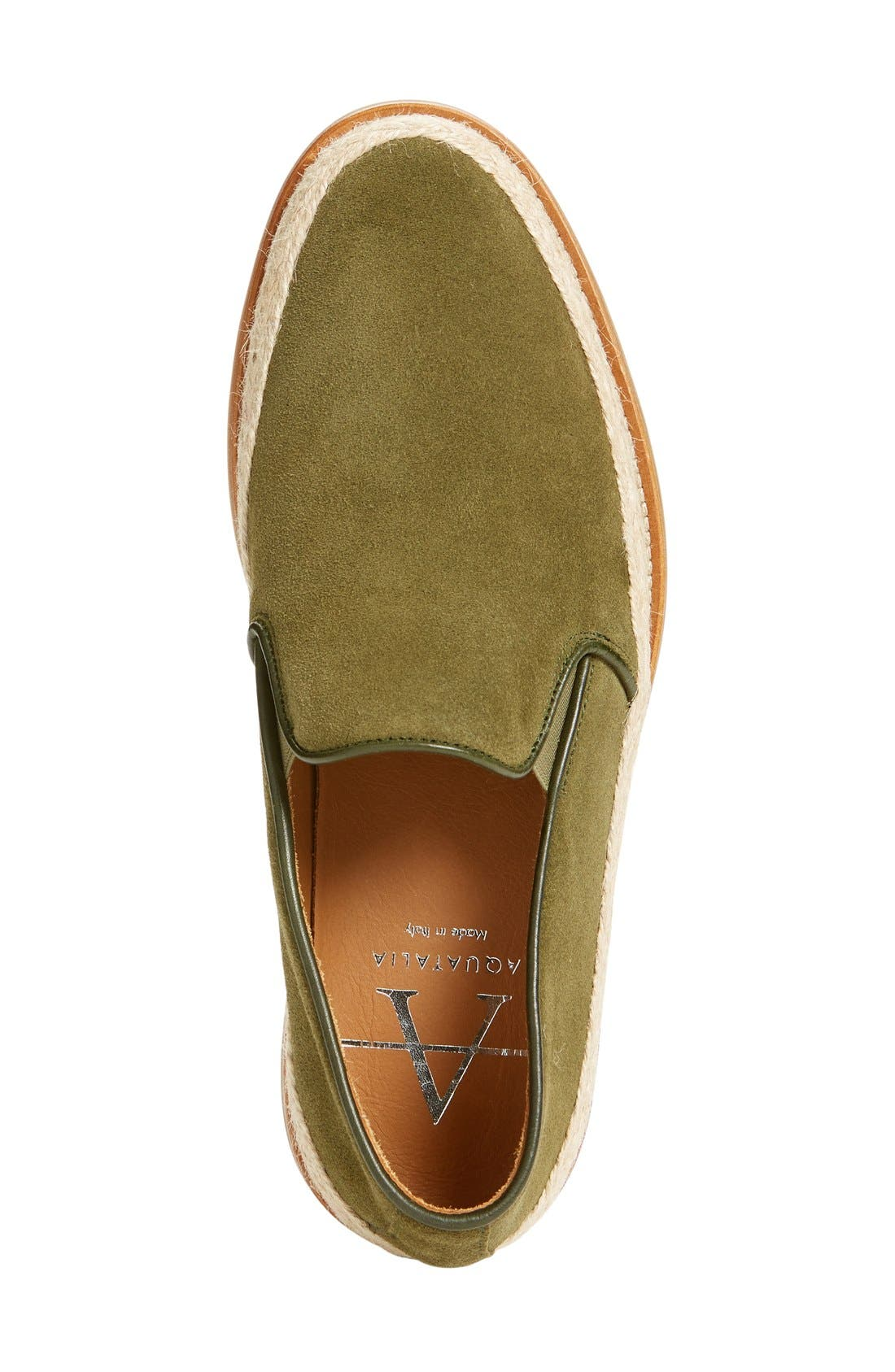 'Zayn' Weatherproof Espadrille,                             Alternate thumbnail 3, color,                             Green Suede