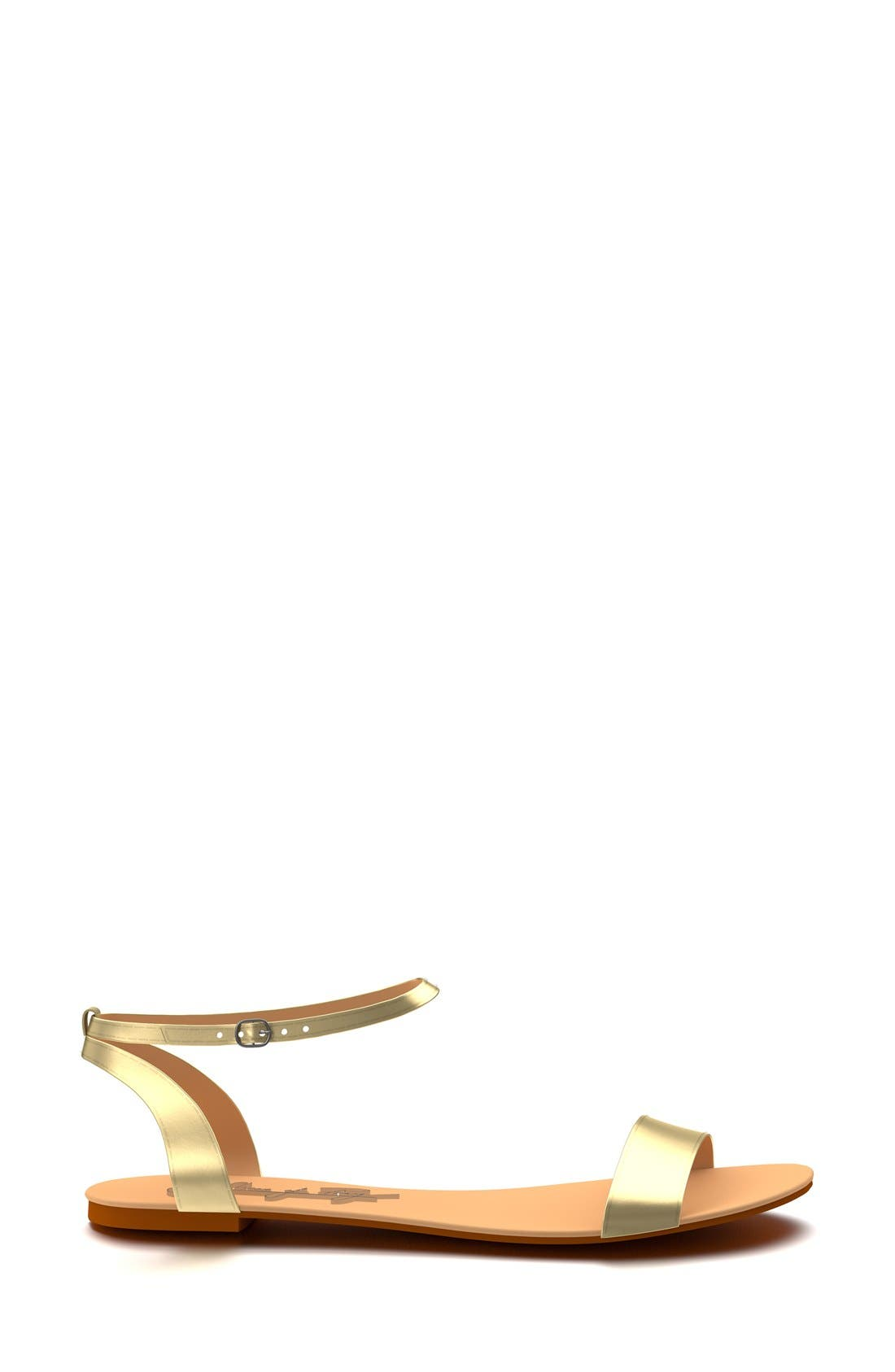 Metallic Ankle Strap Sandal,                             Alternate thumbnail 2, color,                             Gold Leather