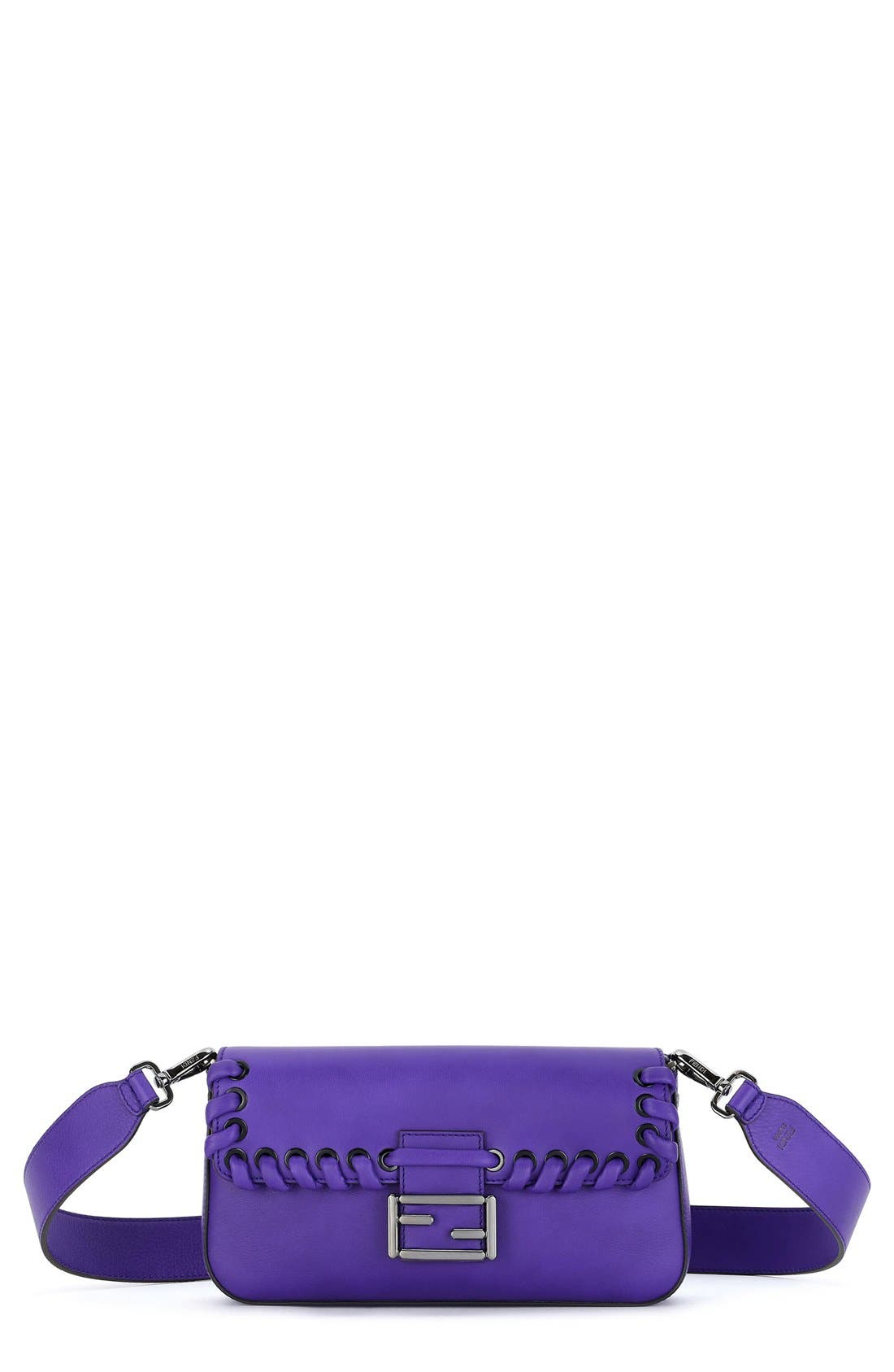 'Dolce' Calfskin Leather Baguette,                             Main thumbnail 1, color,                             Purple Rain/ Ruthenium