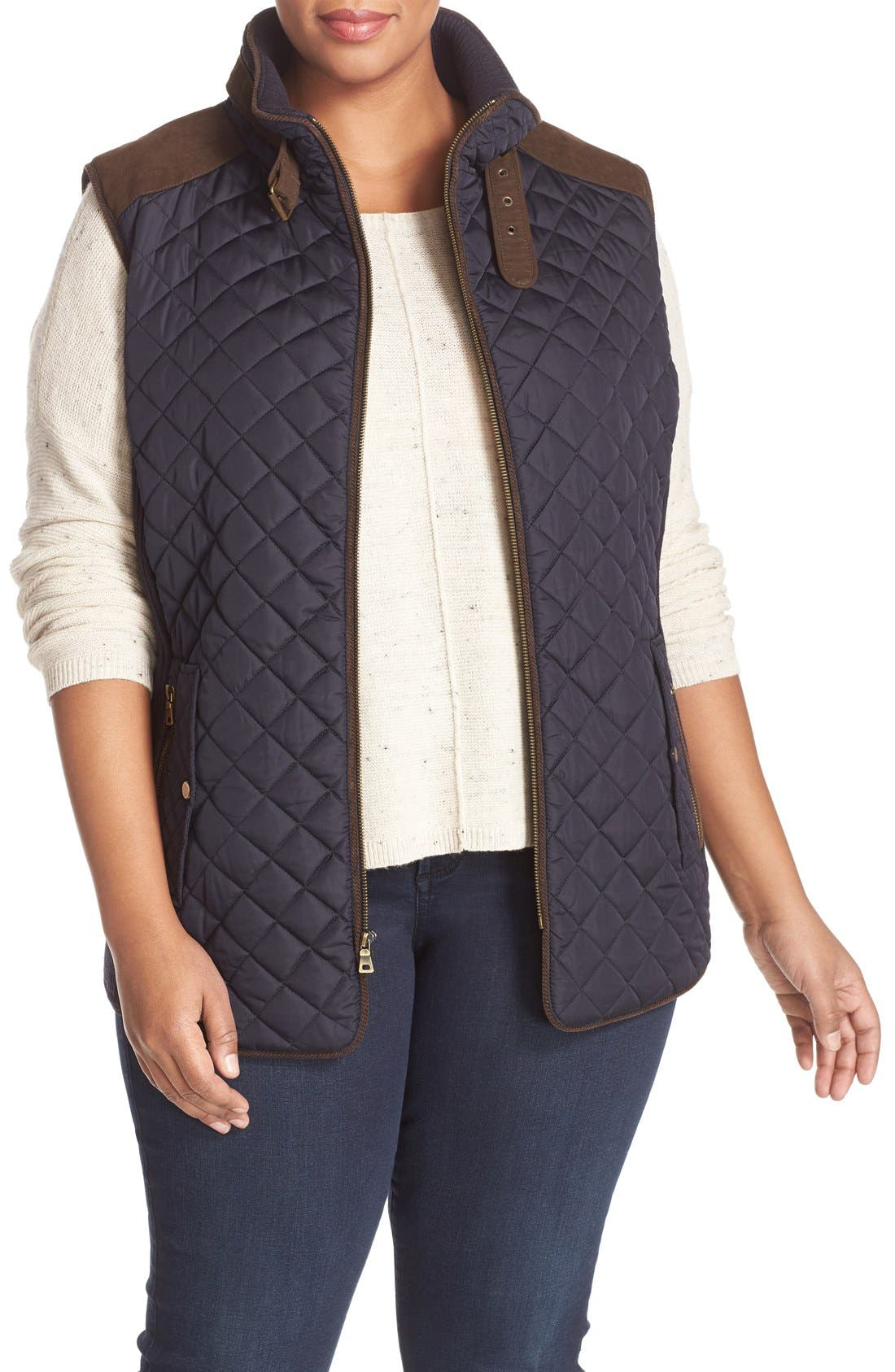 Alternate Image 1 Selected - Gallery Quilted Vest with Faux Suede Trim (Plus Size)