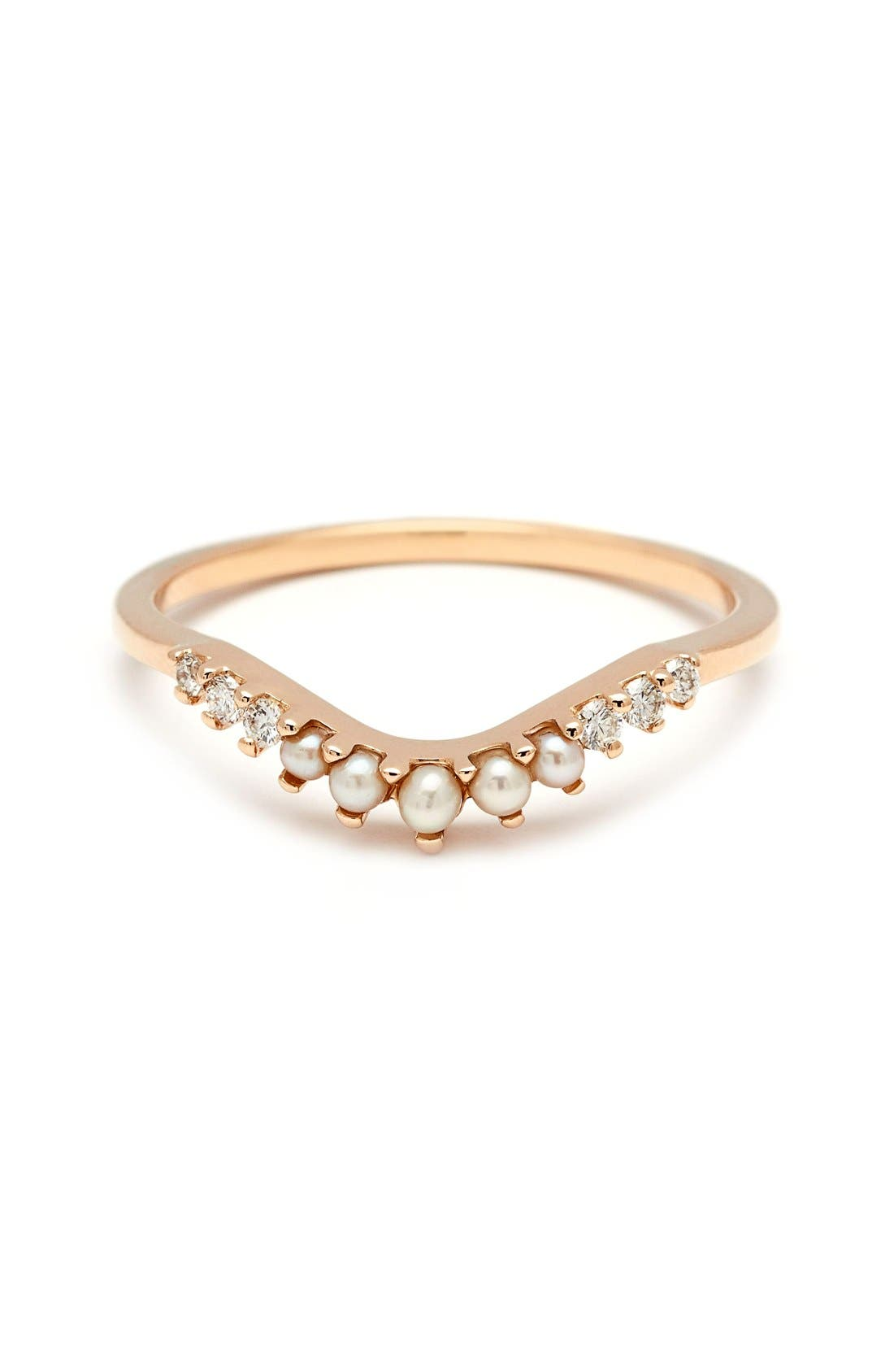 Alternate Image 1 Selected - Anna Sheffield 'Petit Tiara Curve' Diamond & Seed Pearl Ring