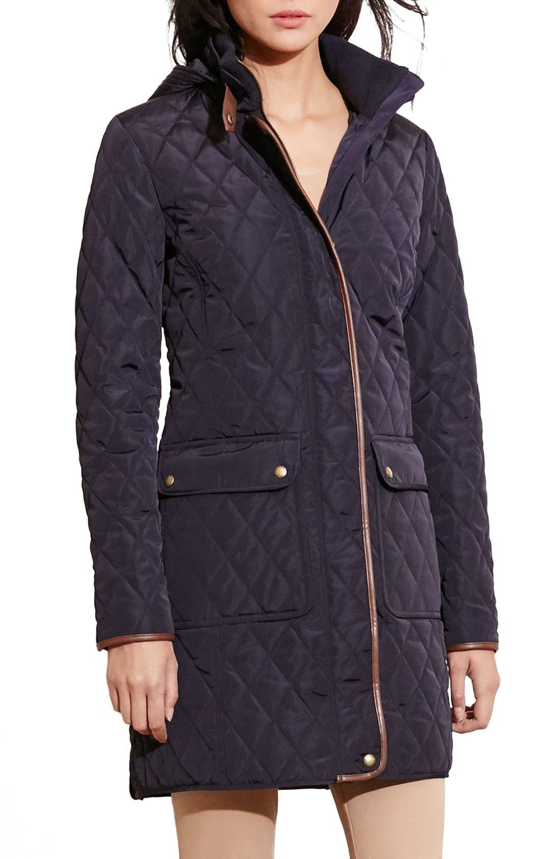 Diamond Quilted Coat with Faux Leather Trim,                         Main,                         color, Dark Navy