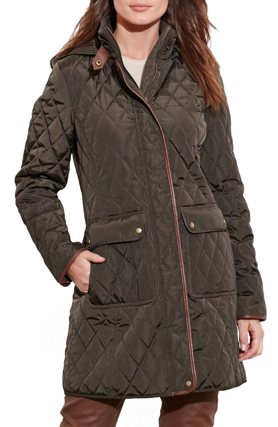 Diamond Quilted Coat with Faux Leather Trim,                         Main,                         color, Dark Moss