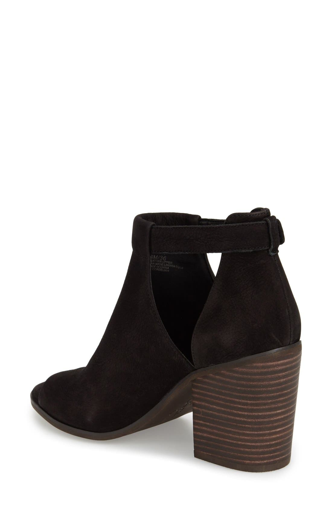 'Cordeliah' Split Shaft Peep Toe Bootie,                             Alternate thumbnail 2, color,                             Black Leather