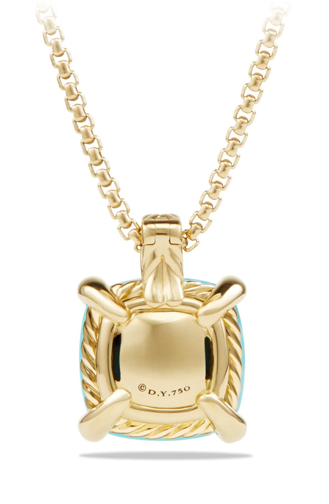 'Châtelaine' Pendant Necklace with Diamonds in 18K Gold,                             Alternate thumbnail 3, color,                             Turquoise