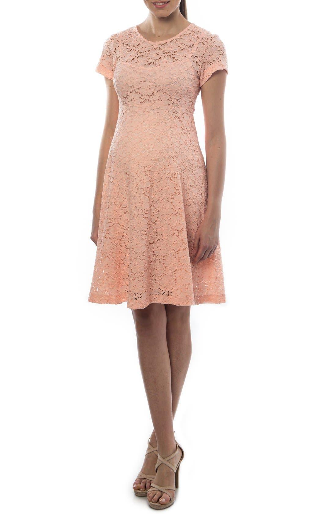 'Rodano' Lace Maternity Dress,                             Main thumbnail 1, color,                             Bellini
