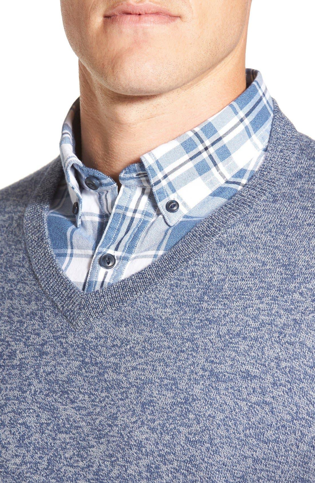 Cotton & Cashmere V-Neck Sweater,                             Alternate thumbnail 4, color,                             Blue Estate Jaspe
