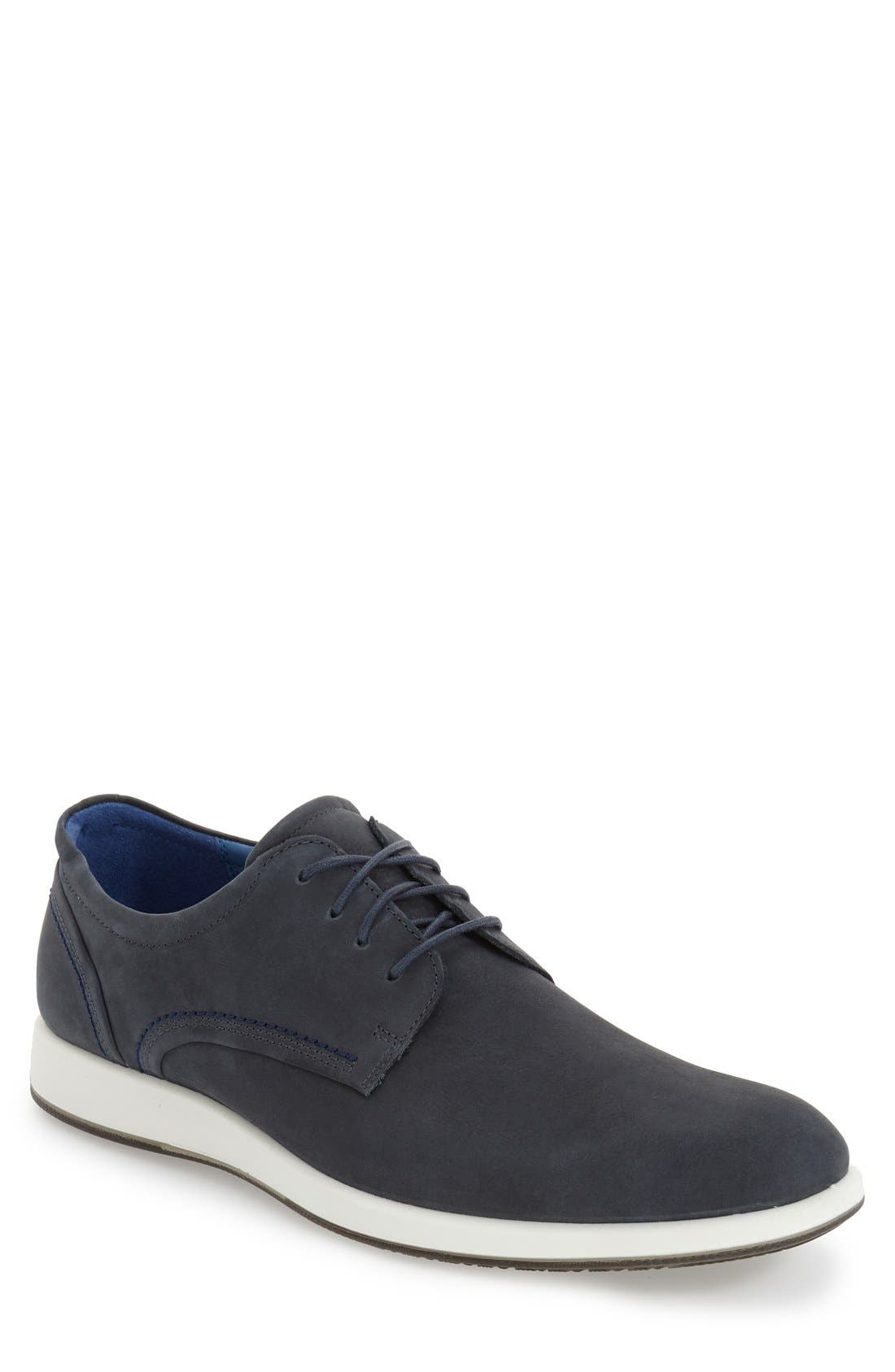 'Jared' Leather Oxford,                             Main thumbnail 1, color,                             Navy Leather