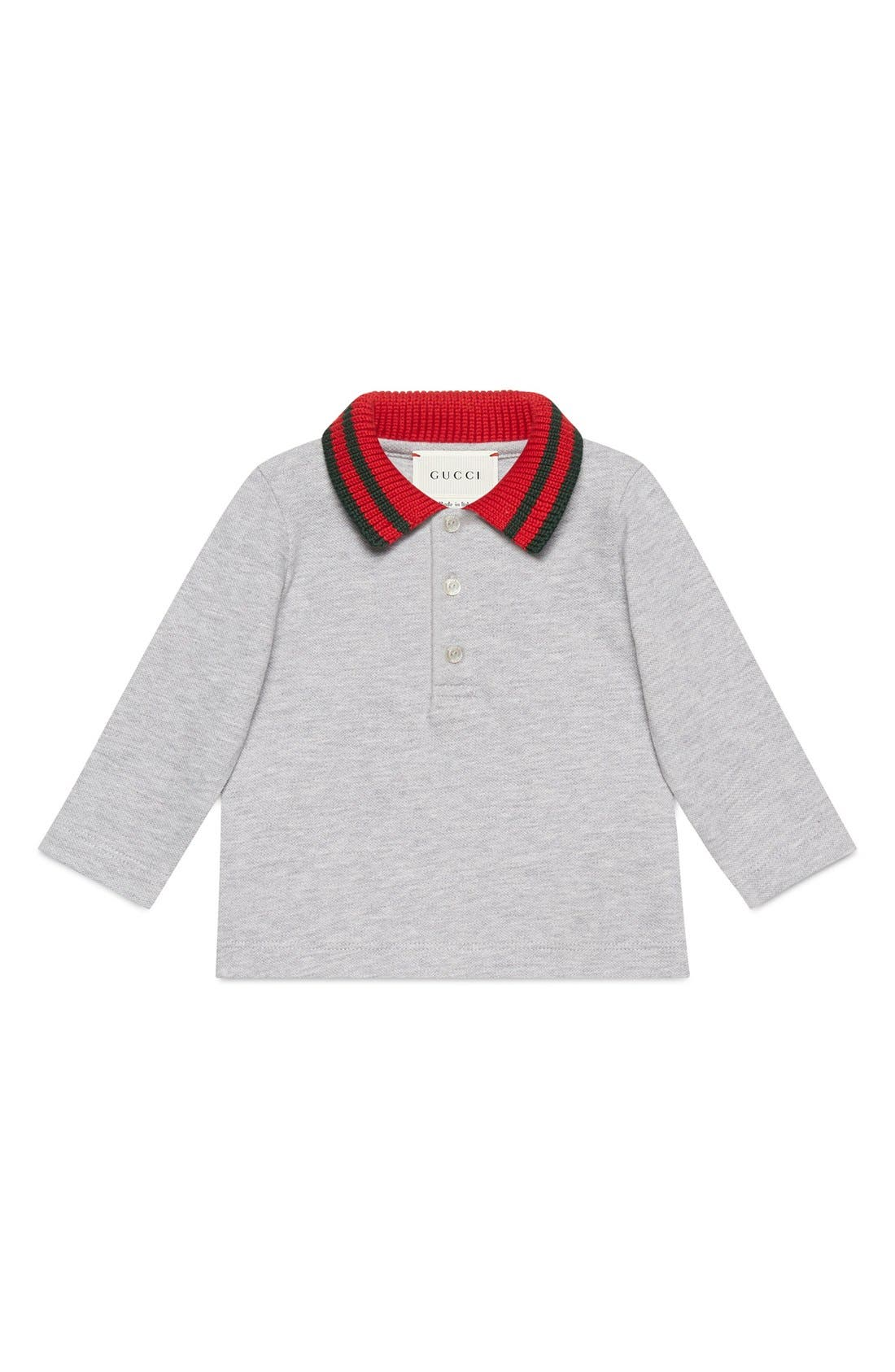 Main Image - Gucci Stripe Collar Long Sleeve Polo (Baby Boys & Toddler Boys)