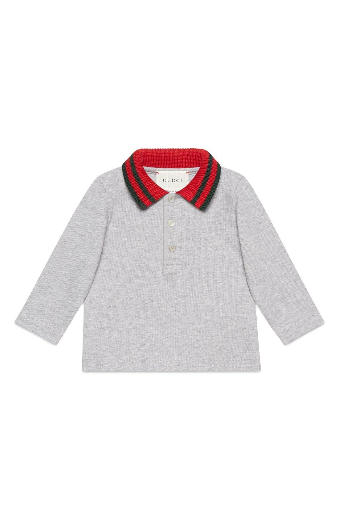 Stripe Collar Long Sleeve Polo,                         Main,                         color, Grey Multi
