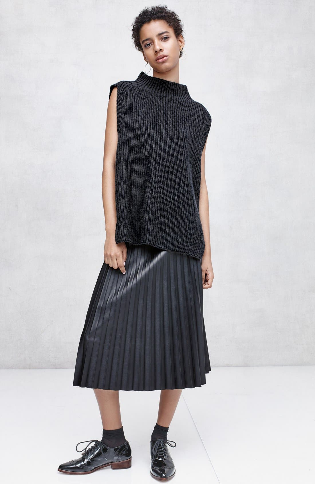Faux Leather Pleat Skirt,                             Alternate thumbnail 6, color,