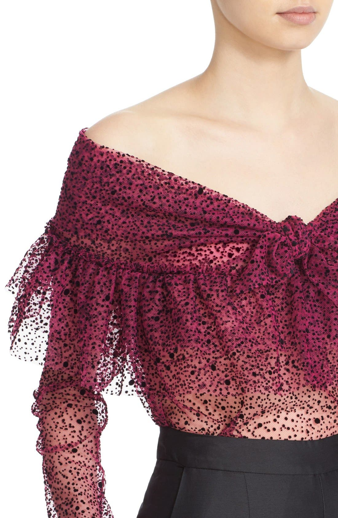 Alternate Image 6  - Isa Arfen Ruffle Knot Off the Shoulder Tulle Top
