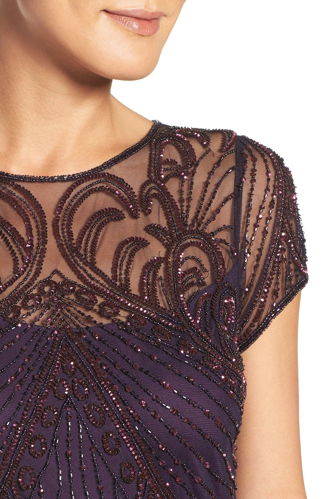 Embellished Mesh Popover Gown,                             Alternate thumbnail 4, color,                             Plum