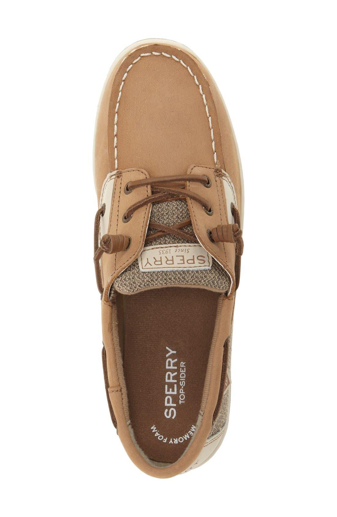 'Songfish' Boat Shoe,                             Alternate thumbnail 3, color,                             Linen/ Oat Leather