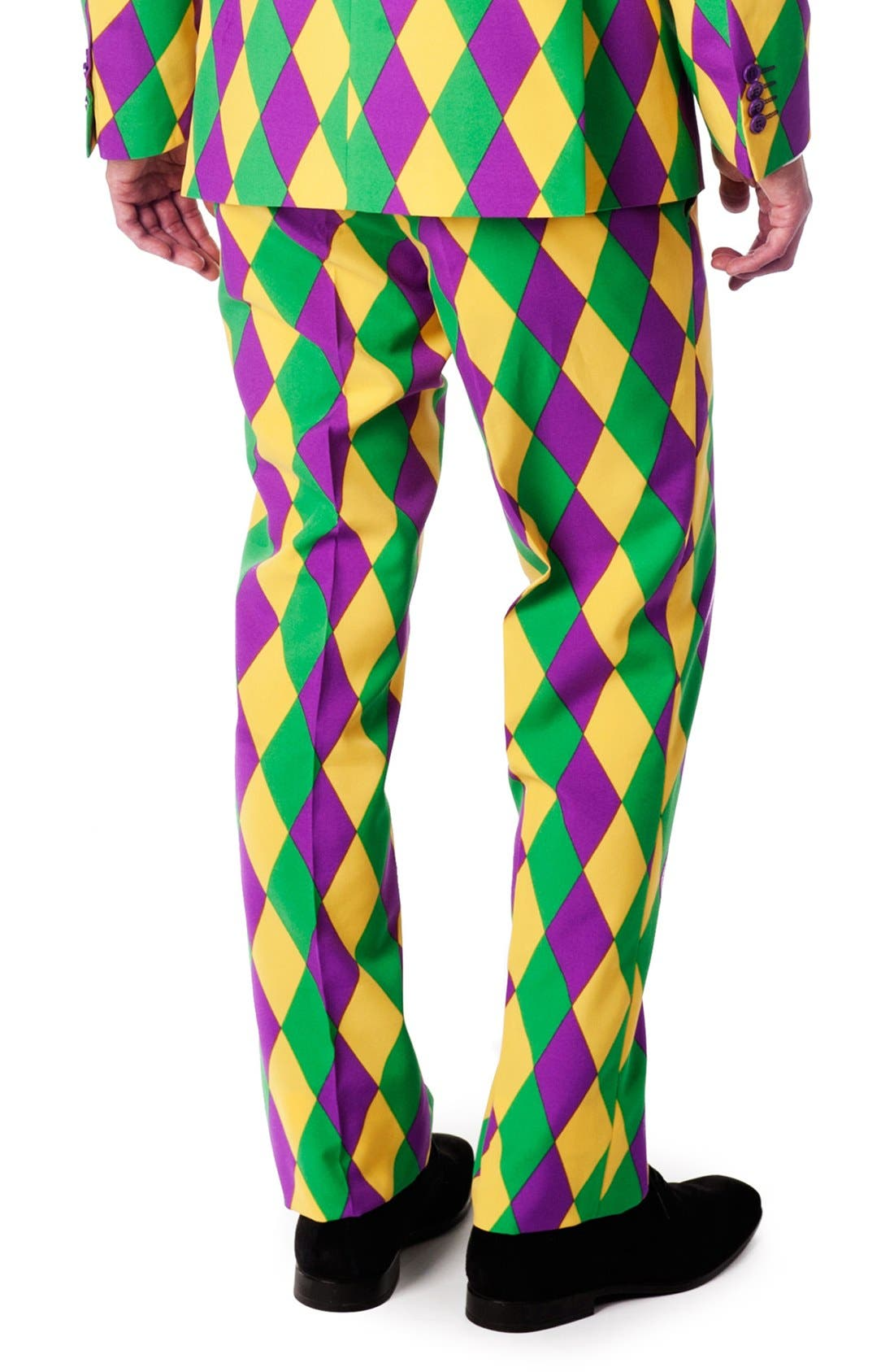 'Harleking' Trim Fit Suit with Tie,                             Alternate thumbnail 3, color,                             Green/ Purple/ Yellow