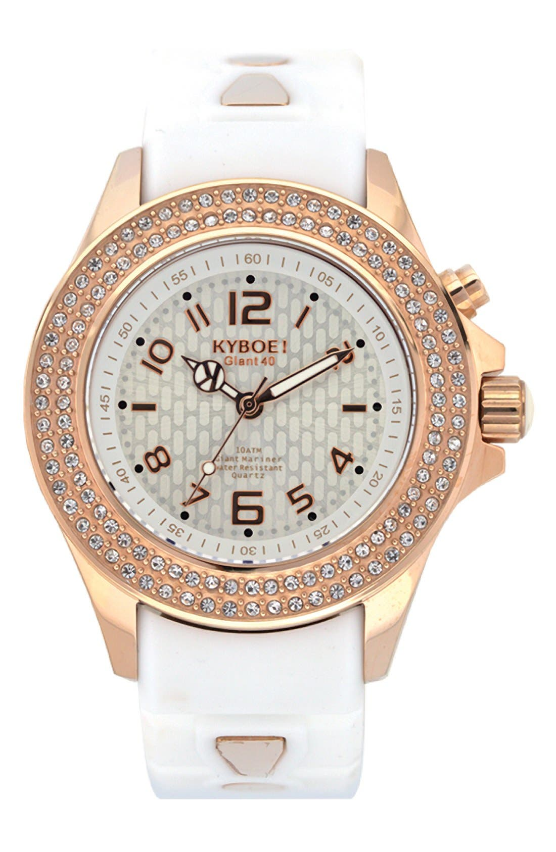'Radiant' Crystal Bezel Silicone Strap Watch, 40mm,                         Main,                         color, White/ Rose Gold