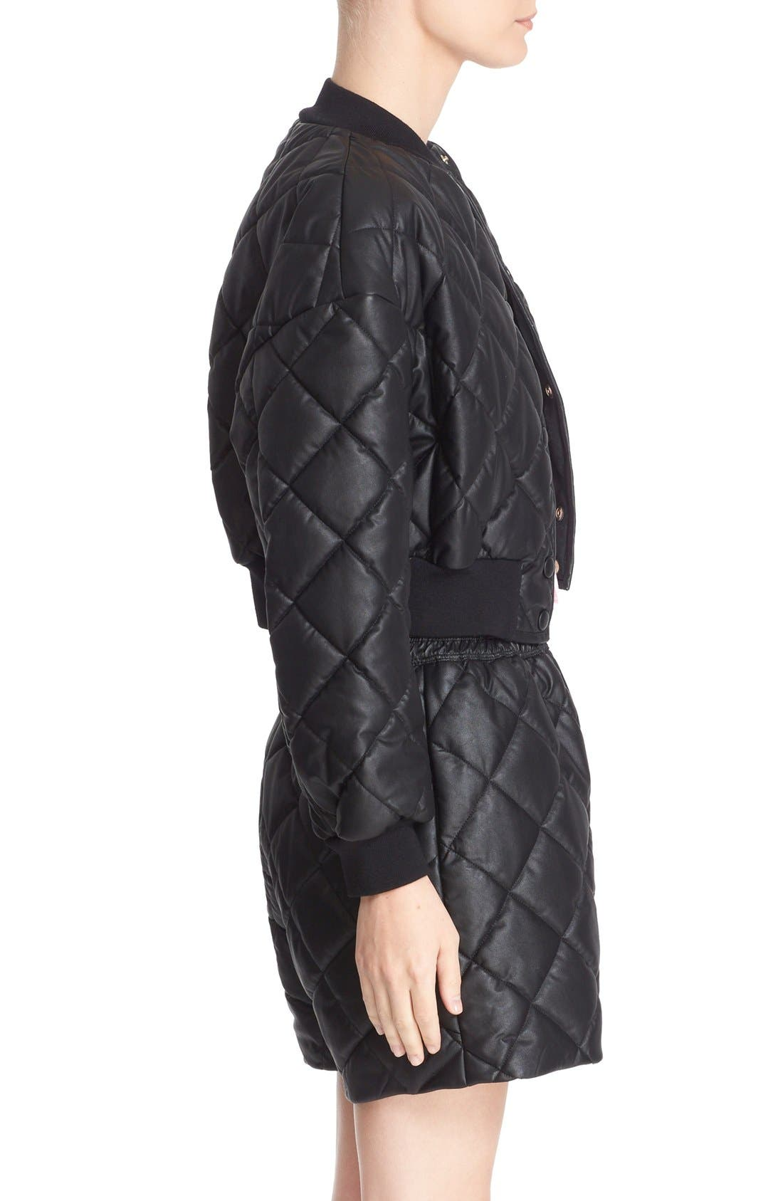 Crop Quilted Puffer Jacket,                             Alternate thumbnail 5, color,                             Black