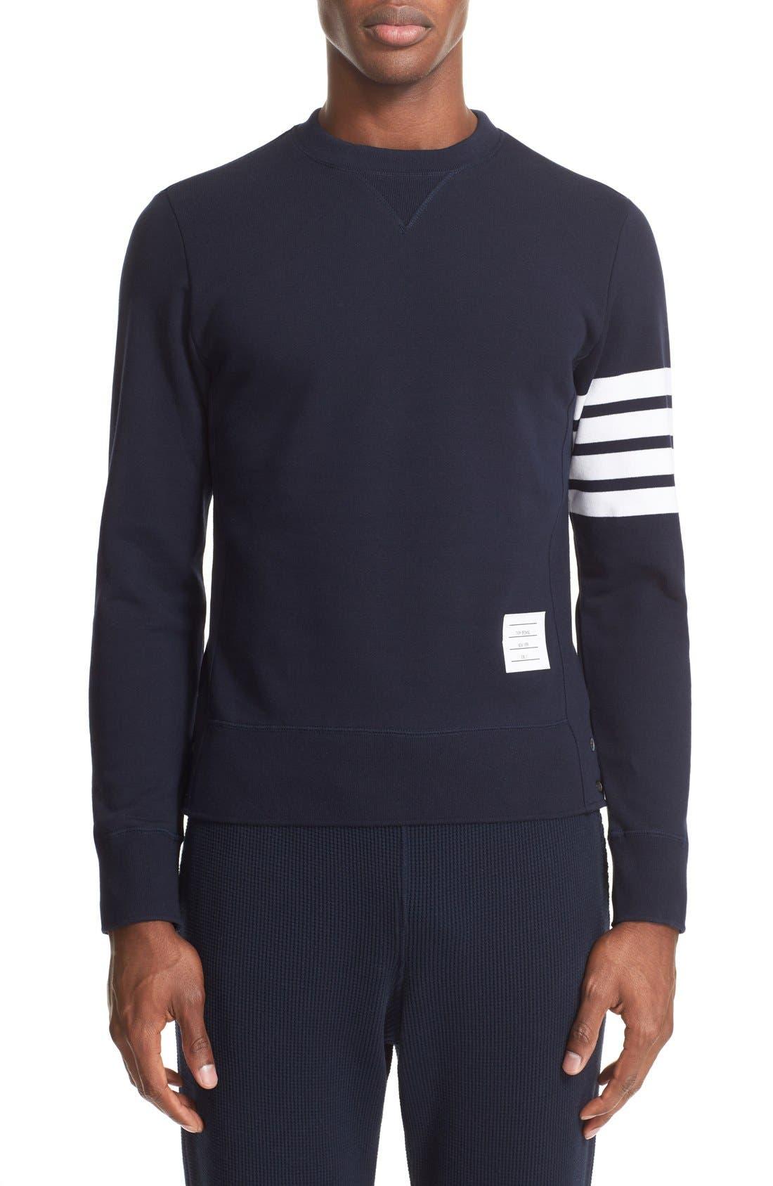 Stripe Sleeve Sweatshirt,                         Main,                         color, Navy/ Optic White