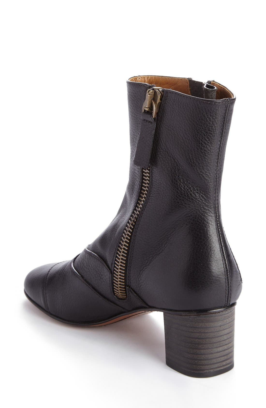 'Lexie' Block Heel Boot,                             Alternate thumbnail 2, color,                             Black Leather
